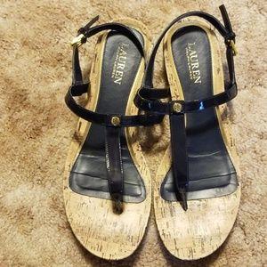 Ralph Lauren Kya Sandals Patent Navy